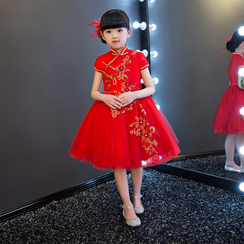 chinese traditional baby girls chi pao cheongsam red dress new year gift children clothes kids. Black Bedroom Furniture Sets. Home Design Ideas