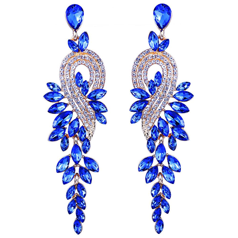 Home Accessories Earrings Earings Fashion Jewelry Luxury Crystal Leaf Large Long Drop